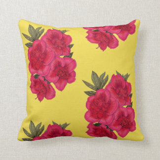 Red And Yellow Azalea Flower Throw Pillow
