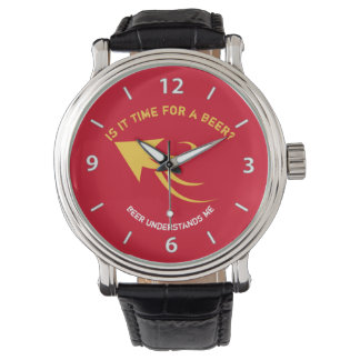 Red and yellow beer quote wristwatches