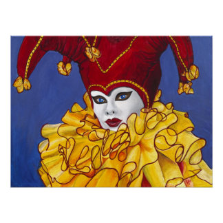 Red and Yellow Carnival Jester Print