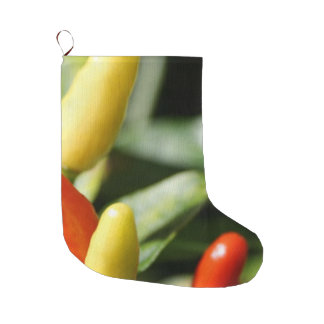 Red and Yellow Chilli Plant Large Christmas Stocking