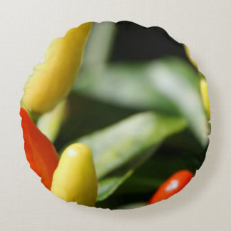 Red and Yellow Chilli Plant Round Cushion
