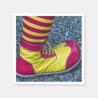 Red and yellow clown shoe disposable napkin