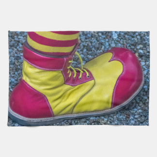 Red and yellow clown shoe kitchen towel