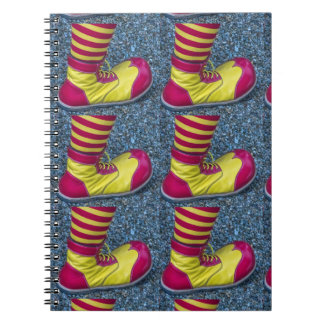 Red and yellow clown shoe notebook
