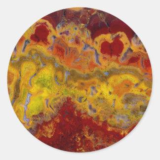 Red and yellow Crayloa Jasper Classic Round Sticker