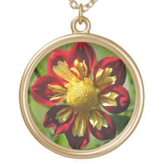 """RED AND YELLOW DAHLIA"" GOLD PLATED NECKLACE"