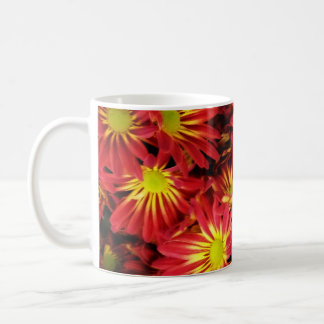 Red and Yellow Daisies Coffee Cup Basic White Mug