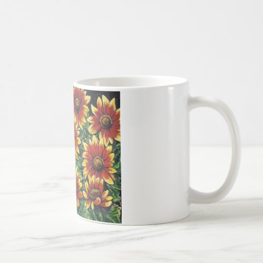 red and yellow daisies mugs