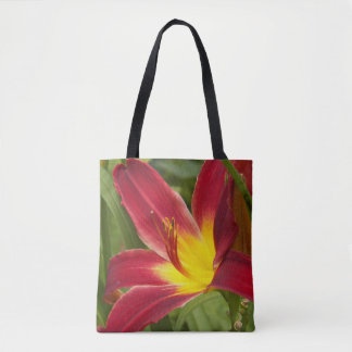 Red and Yellow Daylily Floral Tote Bag