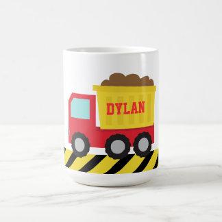 Red and Yellow Dump Truck, For Kids Basic White Mug