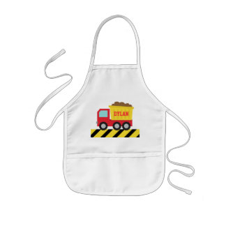 Red and Yellow Dump Truck, For Kids Kids Apron