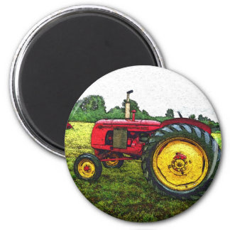 Red and Yellow Farm Tractor 6 Cm Round Magnet