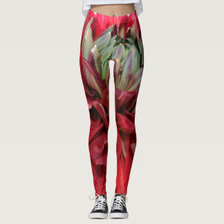 red and yellow flower leggings