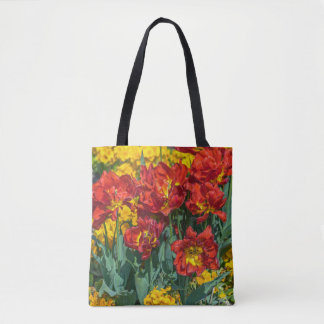 Red and yellow flowers all-over-print tote bag