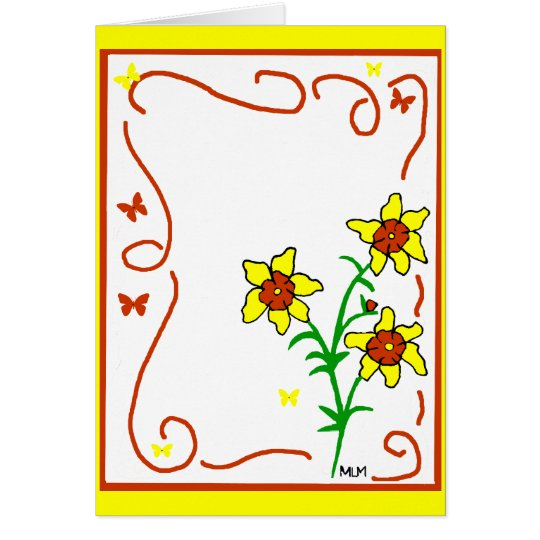 red and yellow flowers  card