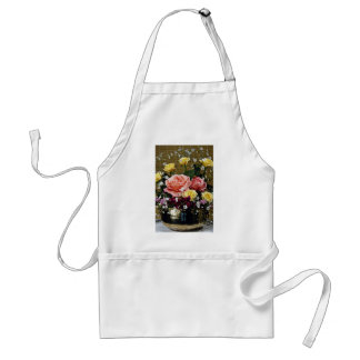 Red and yellow flowers in brass bowl  flowers apron