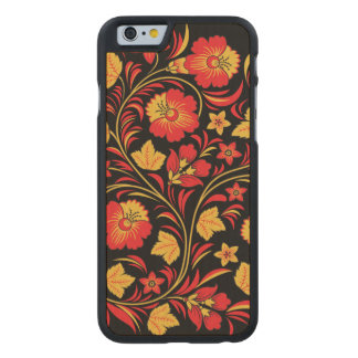 Red and Yellow Flowers Ornament Carved Maple iPhone 6 Case