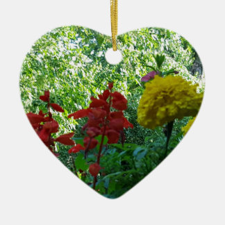 Red And Yellow Flowers Outdoor Photography Ceramic Heart Decoration