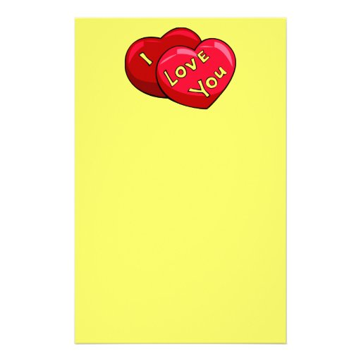 RED AND YELLOW HEARTS LOVE YOU GRAPHICS CUTE STATIONERY