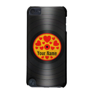 Red and Yellow Hearts Personalized Vinyl Record iPod Touch 5G Cases