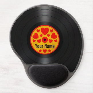 Red and Yellow Hearts Personalized Vinyl Record Gel Mousepads