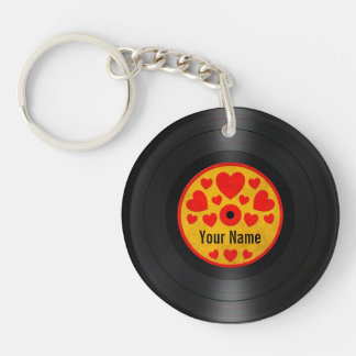 Red and Yellow Hearts Personalized Vinyl Record Key Ring