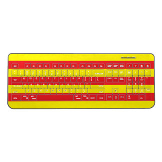 Red and Yellow Horizontal Stripes Wireless Keyboard
