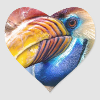 Red and Yellow Hornbill Heart Sticker