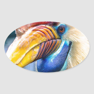 Red and Yellow Hornbill Oval Sticker