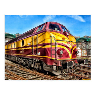 Red and Yellow Locomotive Train Postcard