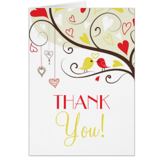 Red and Yellow Lovebirds Wedding Thank You Card