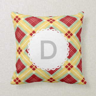 Red and Yellow Monogram Plaid Throw Pillow
