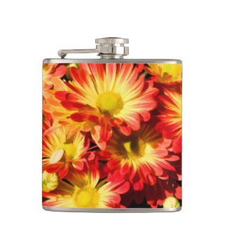 RED AND YELLOW MUMS FLASK