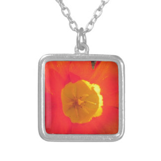 Red and yellow open tulip flower silver plated necklace