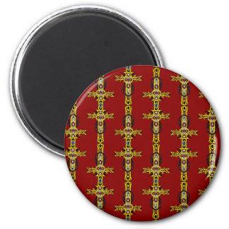Red and Yellow Orange Crosses Tattoo Art 6 Cm Round Magnet