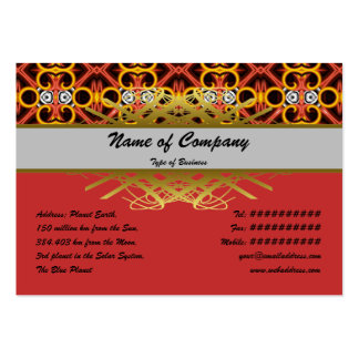 Red and Yellow Pattern Small Business Card Template