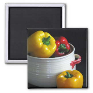 Red and yellow peppers print magnet