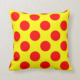 Red and Yellow Polka Dot Throw Pillow