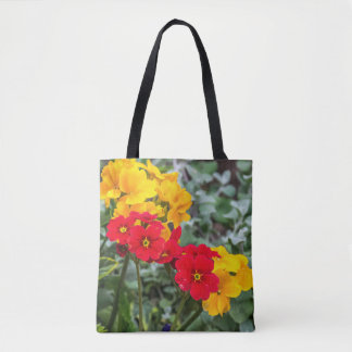 Red and yellow primroses all-over-print tote bag