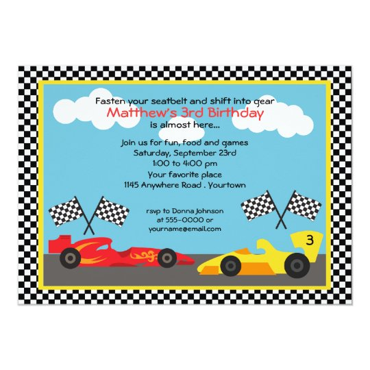Red and Yellow Race Car Birthday Party Card