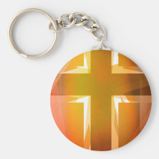 Red and yellow religious cross basic round button key ring