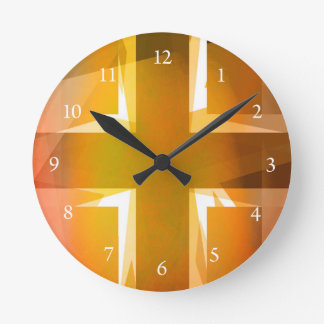Red and yellow religious cross wall clocks