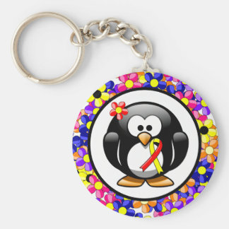 Red and Yellow Ribbon Penguin Key Ring
