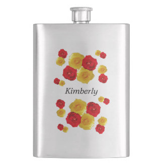 Red and Yellow Roses Flask