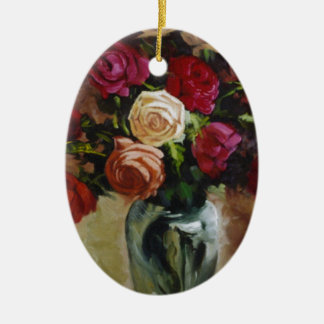 Red and Yellow Roses in Reflective Vase Ceramic Ornament