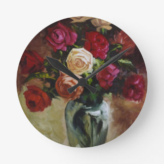 Red and Yellow Roses in Reflective Vase Round Clock