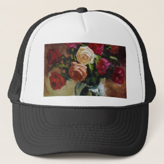 Red and Yellow Roses in Reflective Vase Trucker Hat