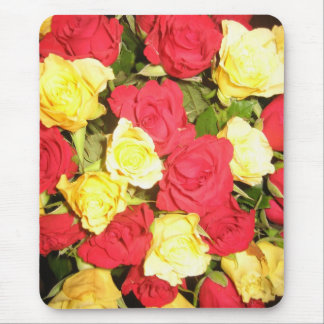 Red and yellow roses mouse pad