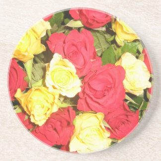 Red and yellow roses sandstone coaster