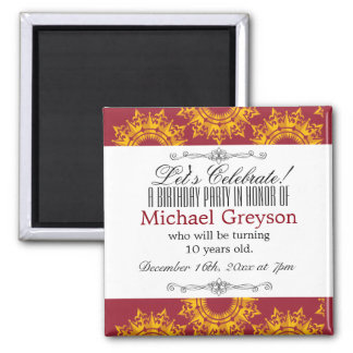 Red and Yellow Royalty Print Magnet